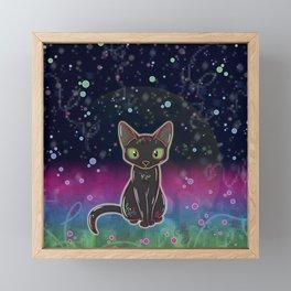 Black Cat Glow (Outer Space) Framed Mini Art Print