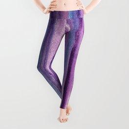 Purple Watercolor Stripes - Abstract Leggings