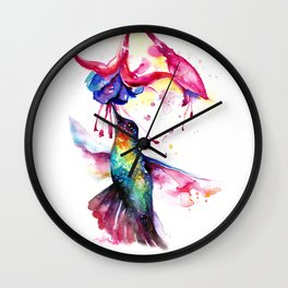 Rainbow Hummingbird in Flowers with Nectar Wall Clock