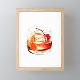 Cocktails. Old Fashioned. Watercolor Painting. Framed Mini Art Print
