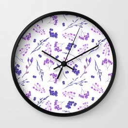 Violet lilac hand painted watercolor berries floral Wall Clock