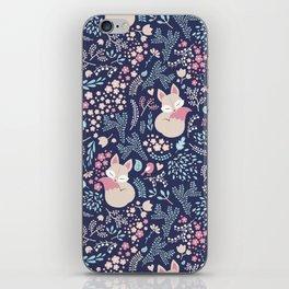 Sleeping Fox - navy iPhone Skin