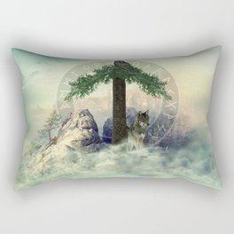 Tiwaz Rune  Digital Art Collage Rectangular Pillow