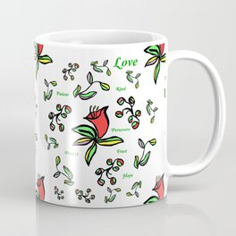 Enlarge Red Flower with Words Coffee Mug