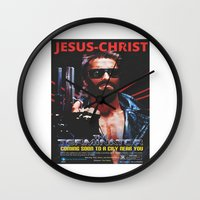 terminator Wall Clocks featuring God's Terminator by Jessie J. De La Portillo