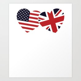 Union Jack British American Flags Heart Art Print
