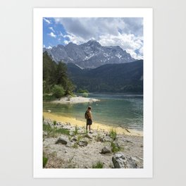 Person standing on the beach of the Eibsee lake in Germany surrounded by the mountains Art Print