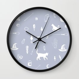 Witchy Pattern - Blue Wall Clock