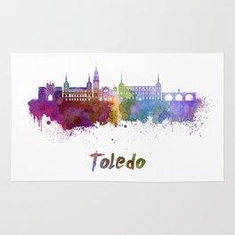 Toledo skyline in watercolor Rug