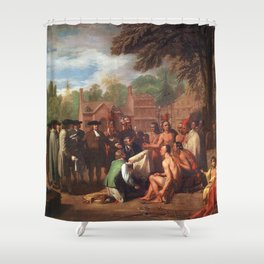 Classical Masterpiece 'The Treaty of Penn with the Indians' by Benjamin West Shower Curtain