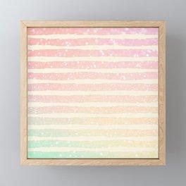 Glitter Wave Pink Sparkle Ombre Stripe Framed Mini Art Print