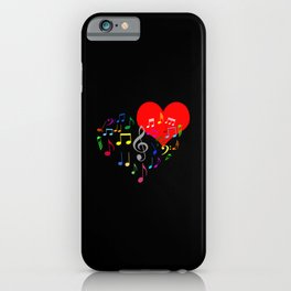 The Singing Heart. Color On Black. Simple And Chic Conceptual Design iPhone Case