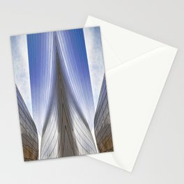 Architectural Abstract of a metal clad building looking skyward Stationery Cards