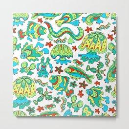 A pattern of fancy bizarre sea creatures. Style Doodle. Vector illustration. Metal Print