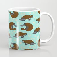platypus Mugs featuring Platypus Love by Joanne Paynter