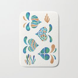 Cute abstract fish with metallic copper accents Bath Mat