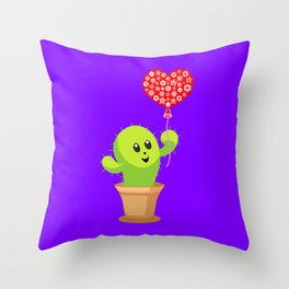 Cute happy smiling kawaii potted cactus plant with a red heart balloon. Be kind. Kindness. Throw Pillow