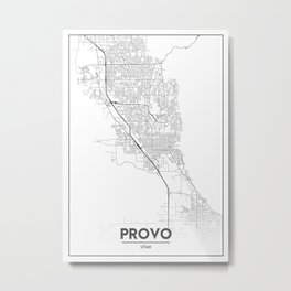 Minimal City Maps - Map Of Provo, Utah, United States Metal Print