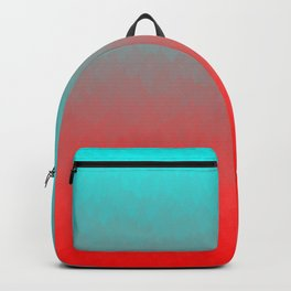 Cyan to red ombre flames Miami Sunset Backpack