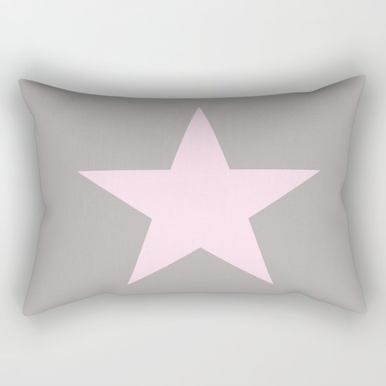 Pink star on grey background Rectangular Pillow