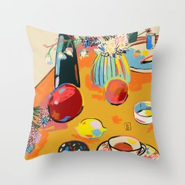TEA AND FLOWERS AT HOME Throw Pillow