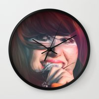 karen hallion Wall Clocks featuring Karen O by Camila Fernandez