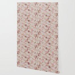Modern rose gold geometric star flower pattern Wallpaper