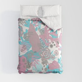Artistic nautical teal pink gray coral floral pattern Comforters