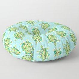Tortoise Pattern with aqua background Floor Pillow