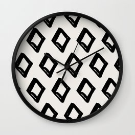 Modern Diamond Pattern Black on Light Gray Wall Clock