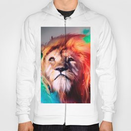 Colorful lion looking up Feathers Space Universe Hoody