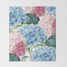 Pink Blue Hydrangea Throw Blanket