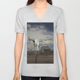Steer Skull and Western Fenced Corral Unisex V-Neck