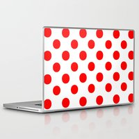 polka dots Laptop & iPad Skins featuring Polka Dots (Red/White) by 10813 Apparel