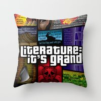 literature Throw Pillows featuring Grand Theft Literature by Mitul Mistry