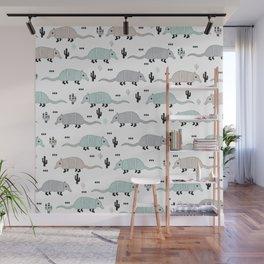 Cool western cactus desert Armadillo Animals illustration pattern Wall Mural