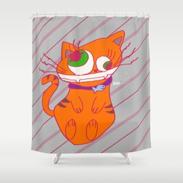 Deranged Cat Shower Curtain
