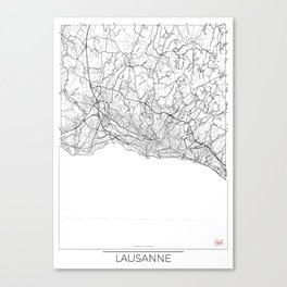 Lausanne Map White Canvas Print