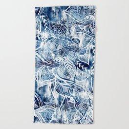 Modern navy blue tie die watercolor floral white boho hand drawn pattern Beach Towel