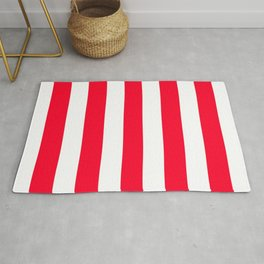 Ruddy red - solid color - white vertical lines pattern Rug