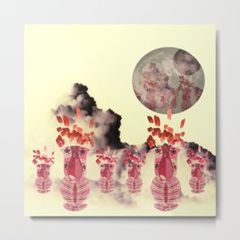 Pink Vase with Poppy Flowers Moon Metal Print