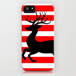 Reindeer On Candy Stripe iPhone Case