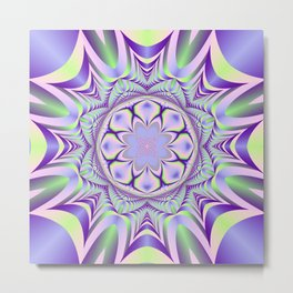 Geometric pattern kaleidoscope in purple, blue, pink and green Metal Print