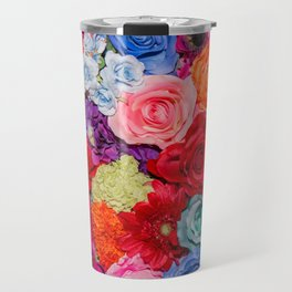 Vibrant Rainbow Flowers Travel Mug