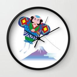 Japanese Kite and Mt.Fuji Wall Clock