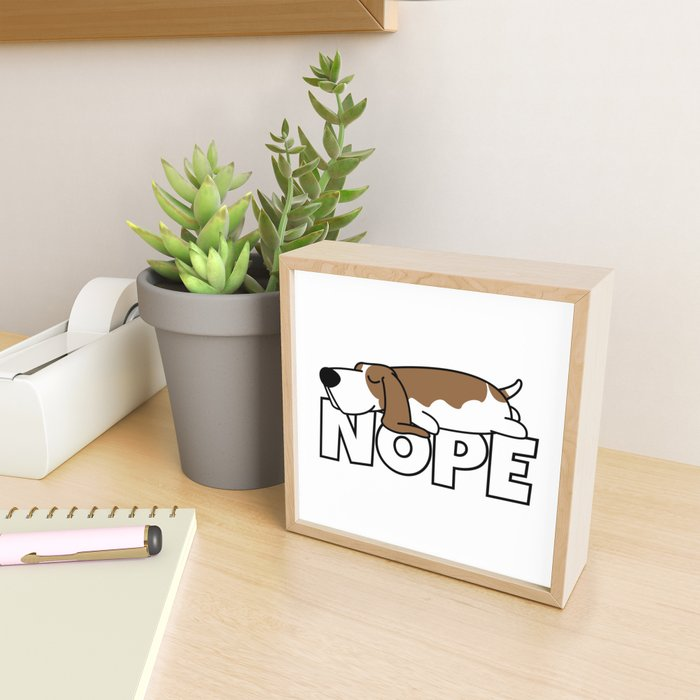 Nope Basset Hound Framed Mini Art Print