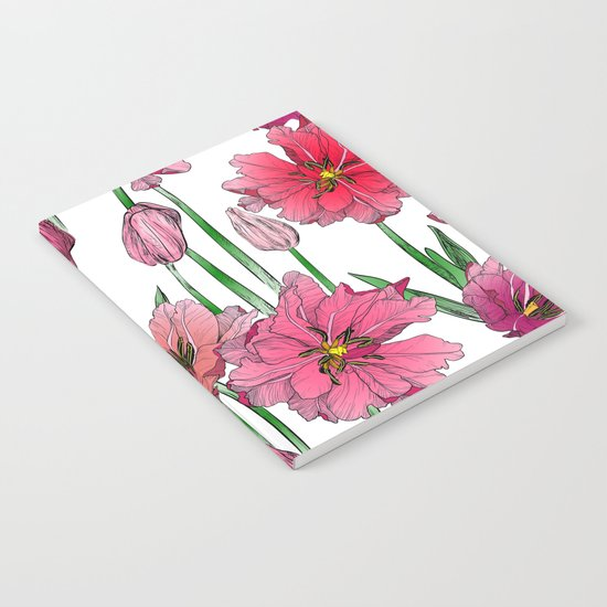Pink Hibiscus Pattern Notebook