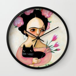 Frida with Black Cat and Tulips painting by Tascha Wall Clock