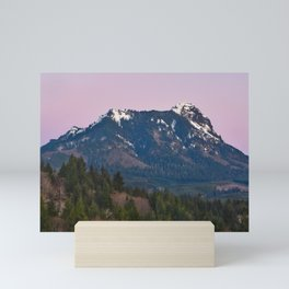 Snowy Saddle Mountain Snow Forest Pacific Northwest PNW Oregon Trees Landscape Purple Sunset Big SKy Mini Art Print