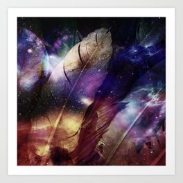 feathers in space Art Print